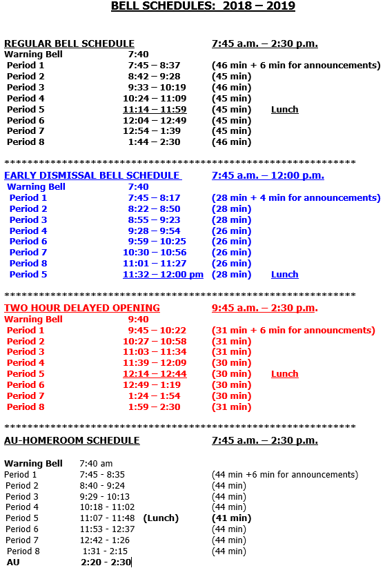 Bell Schedule 1819 Image