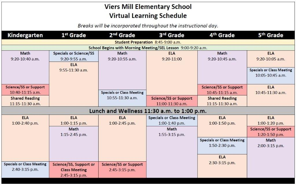 Virtual Learning Schedule 2020-2021
