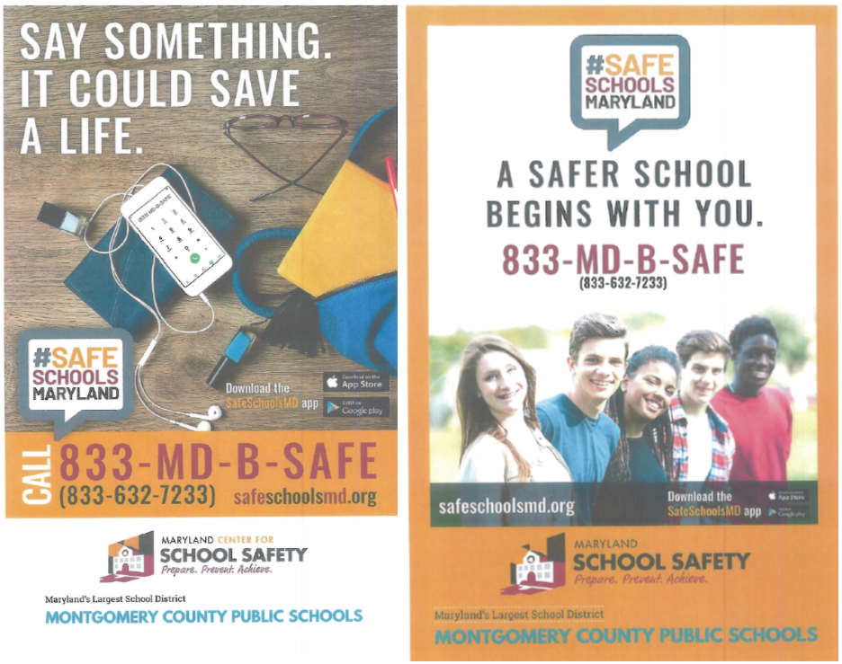 Safe Schools Maryland Hotline and Poster