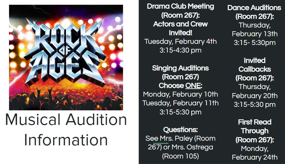 Rock of ages spring musical audition information