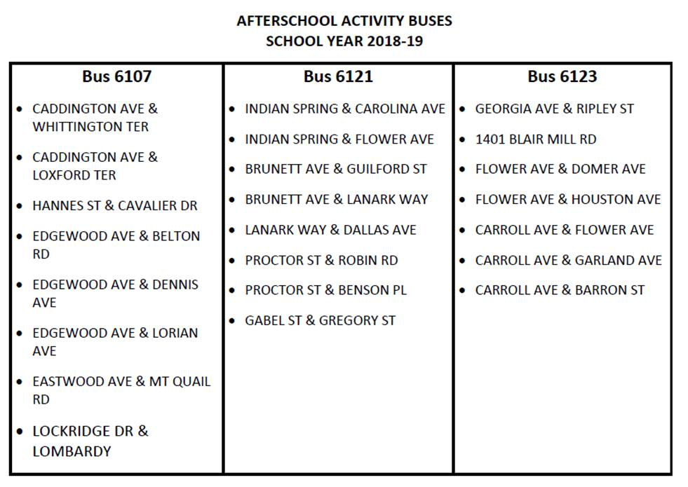 2018-2019 After School Activity Buses